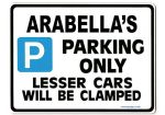 ARABELLA'S Personalised Parking Sign Gift | Unique Car Present for Her |  Size Large - Metal faced